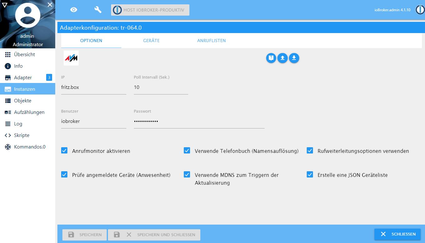 ioBroker und Fritzbox – der TR 20 Adapter – smarthome tricks.de